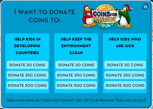 Coins for Change Menu