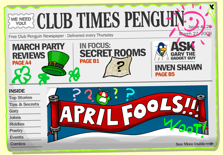 Club Penguin April Fool's Day Party - Newspaper
