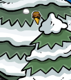 Club Penguin Secrets - Ice Cream Cone Pin in Tree