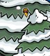 Club Penguin Secrets - Ice Cream Cone Pin in Tree