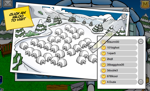 Club Penguin Member Scrollable Igloo List