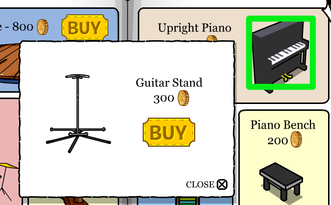 Club Penguin Upright Piano Guitar Stand