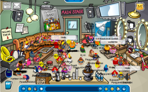 Backstage at the Club Penguin Music Party