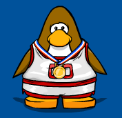 Wearing the gold medal for Team Red