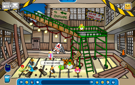 Construction at the Club Penguin Dojo