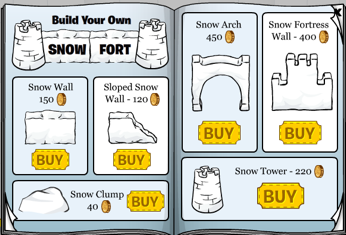 Club Penguin Snow Fort Pieces