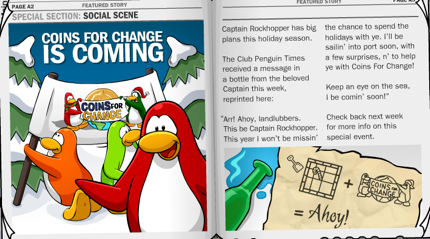 Club Penguin Rockhopper and Coins for Change