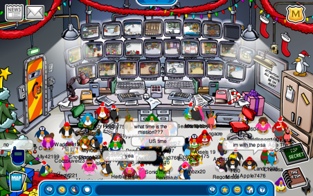 Waiting for Mission 10 on Club Penguin