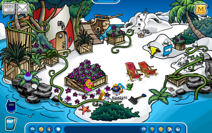 Club Penguin plants all over Beach