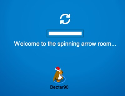 Club Penguin spinning arrow room
