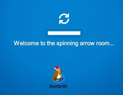 Club Penguin spinning arrow room