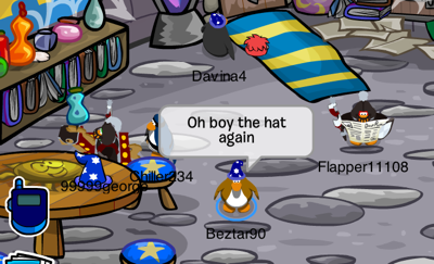 blue wizard hat in Club Penguin