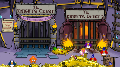 knight's quests in club penguin