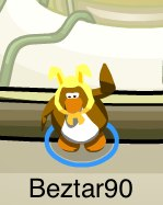 Club Penguin Wearing Yellow Bunny Ears